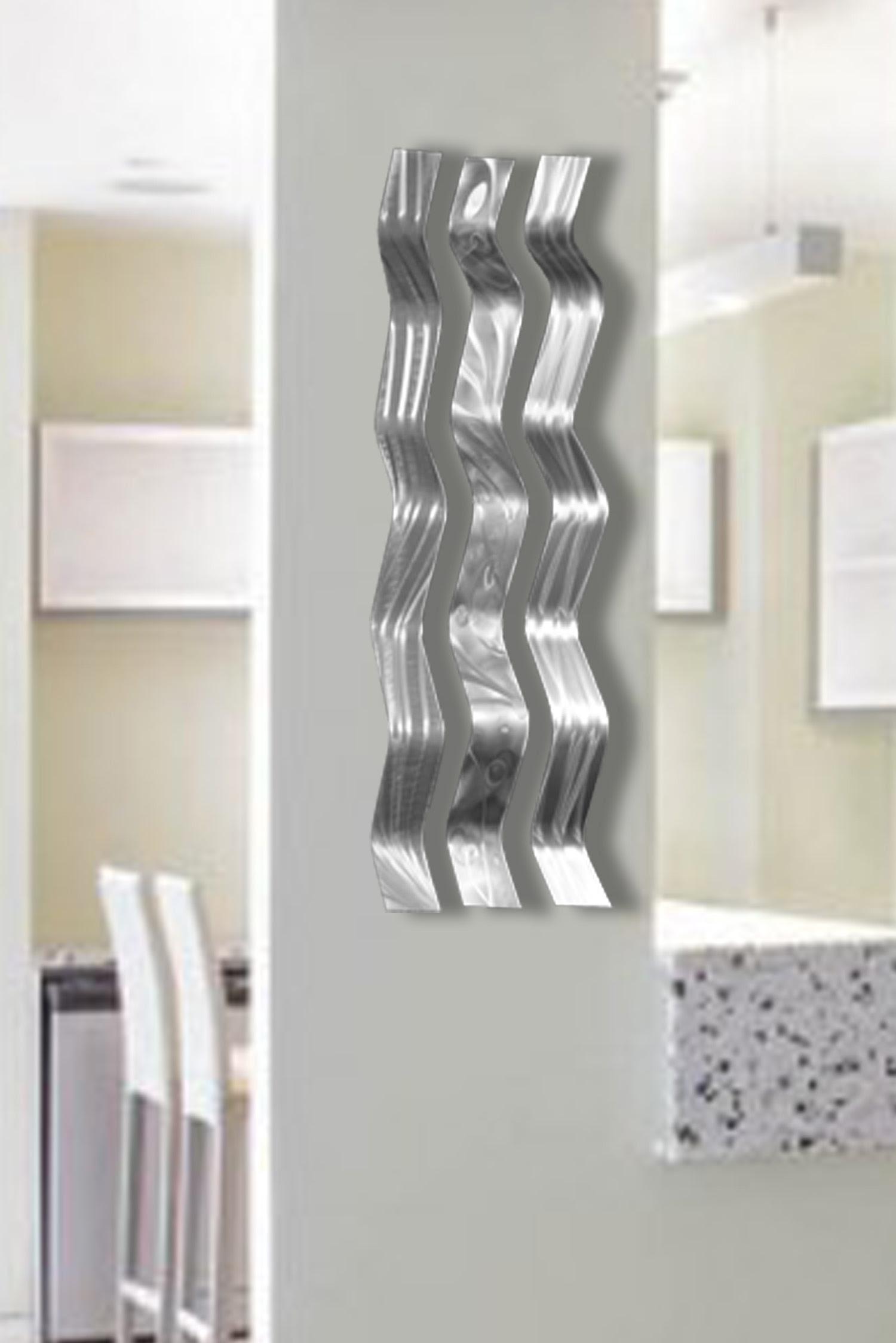 Harmony Silver- Metal Wall Sculpture Art, Wavy Pieces ...