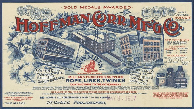 Philadelphia rope company invoice in stylised font