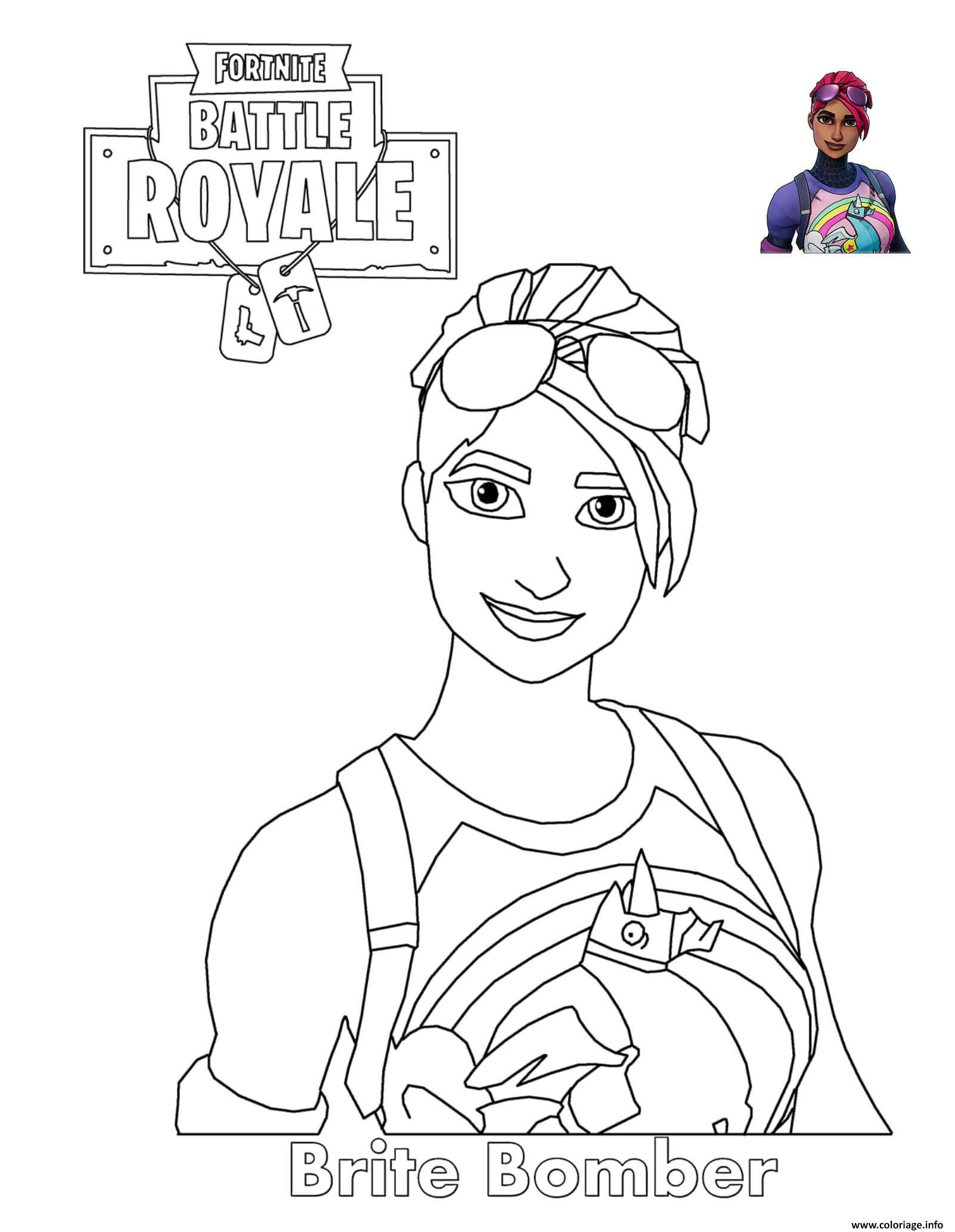 Coloriage Brite Bomber Fortnite Battle Royale Jecoloriecom