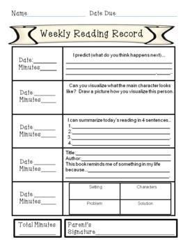 Bundled Weekly Reading Records (Fiction & Non-Fiction)