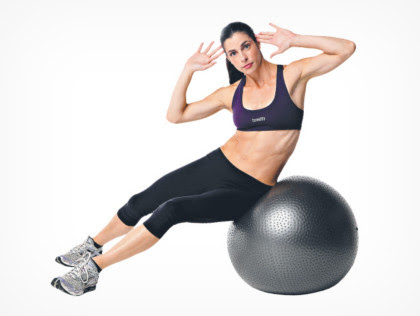 1. Ball oblique crunches