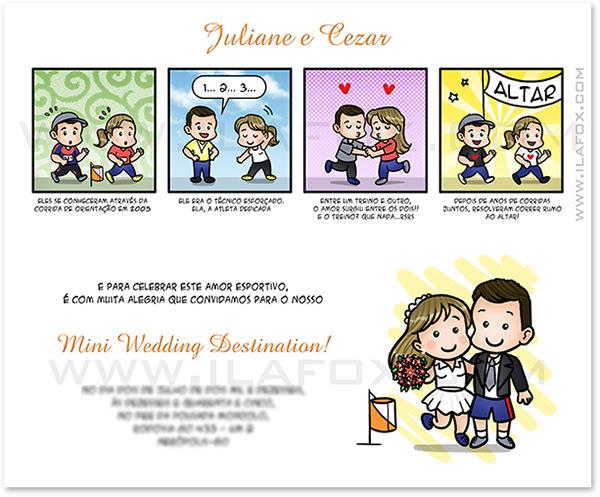 convite em tirinhas, convite personalizado, convite em quadrinhos, convite casal, convite original para casamento, convite história dos noivos, by ila fox