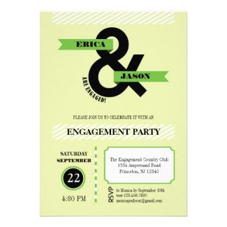 Bold Ampersand Engagement Party Invitation