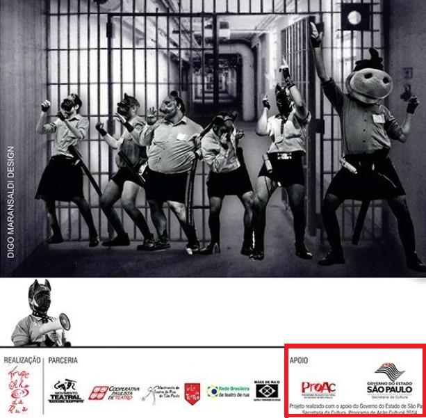Policiais usando saia em projeto da Proac, do governo de São Paulo