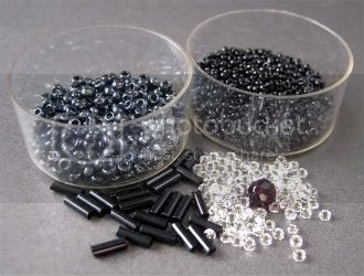 Black and Silver Seed Beads