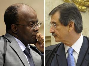 Os ministros do STF Joaquim Barbosa (esq.) e Cezar Peluso (Foto: STF e Agência Brasil)