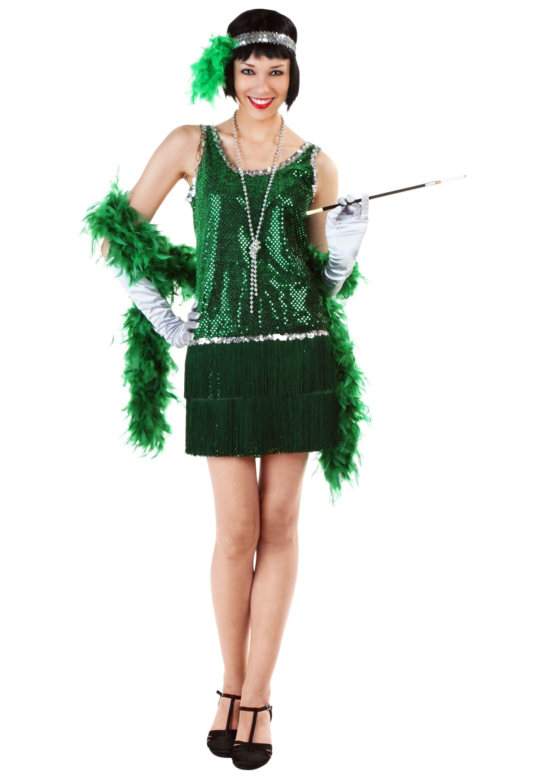 sequin fringe green flapper costume plus