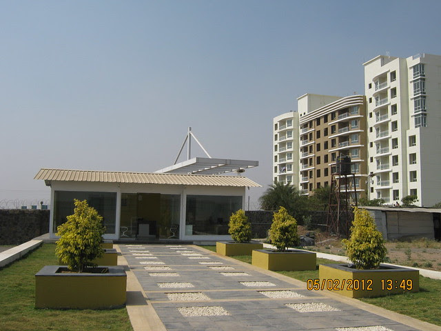 Site office of Alfa Life Scapes, 2 BHK & 3 BHK Flats, on Wagholi Kesnand Road, Wagholi, Pune 412 207