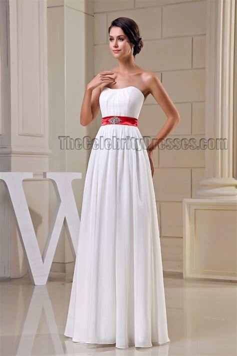 Elegant Strapless White Prom Gown Evening Dresses With Red
