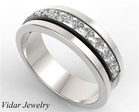 Mens Wedding Band 14K Black And White Gold Princess Cut