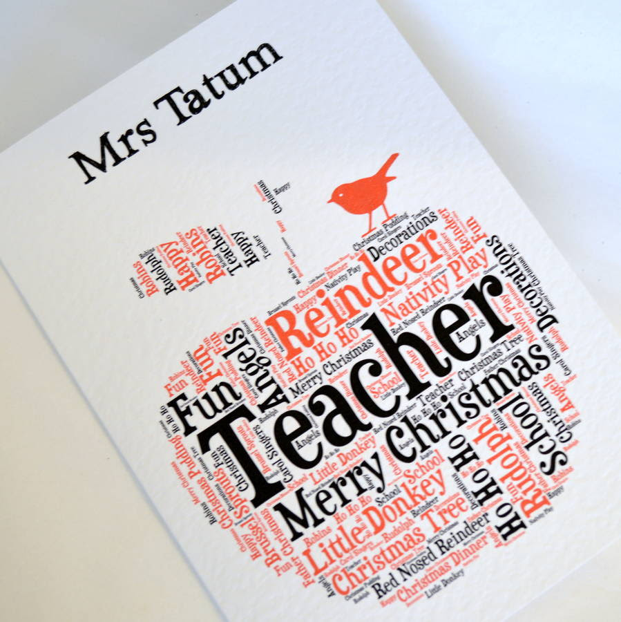 personalised teacher christmas card by sew very english