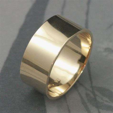 Solid 14K Gold ULTRA Wide 10mm Band Mens Wedding Band Flat