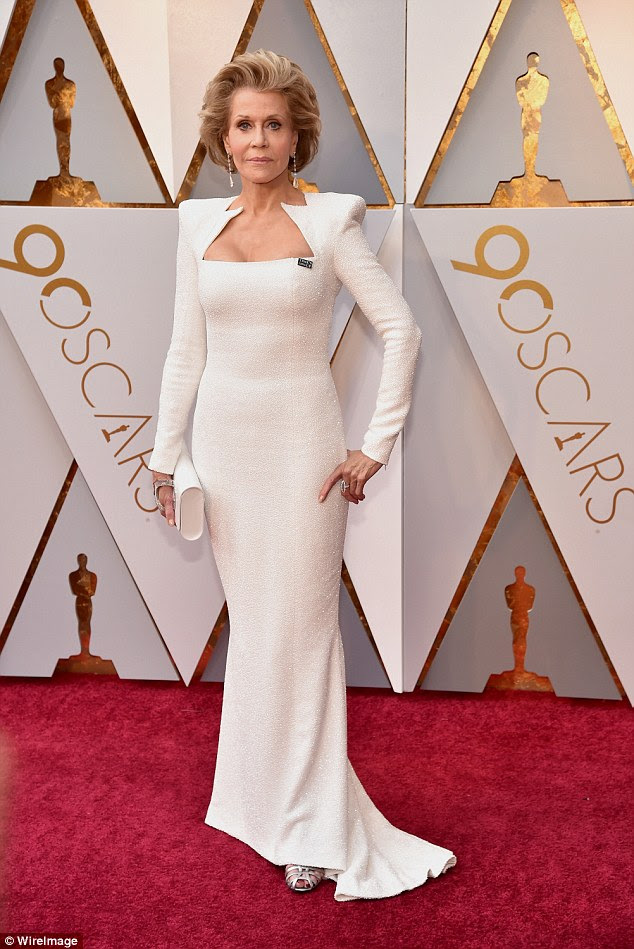 Heavenly! Jane Fonda put more than just her star power on show as she proved she was every inch the fashionista in a stunning white gown at the 90th Academy Awards in Hollywood on Sunday