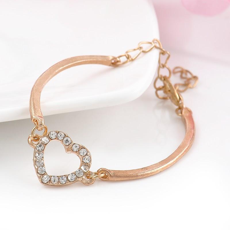 fashion jewelry gold silver crystal rhinestone love heart charm