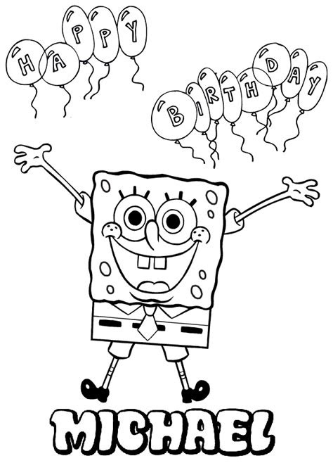 Spongebob Birthday Coloring Pages | Coloring Page Blog