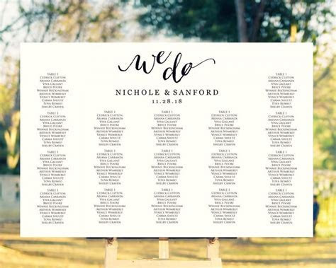 We Do Wedding Seating Chart Template In FOUR Sizes