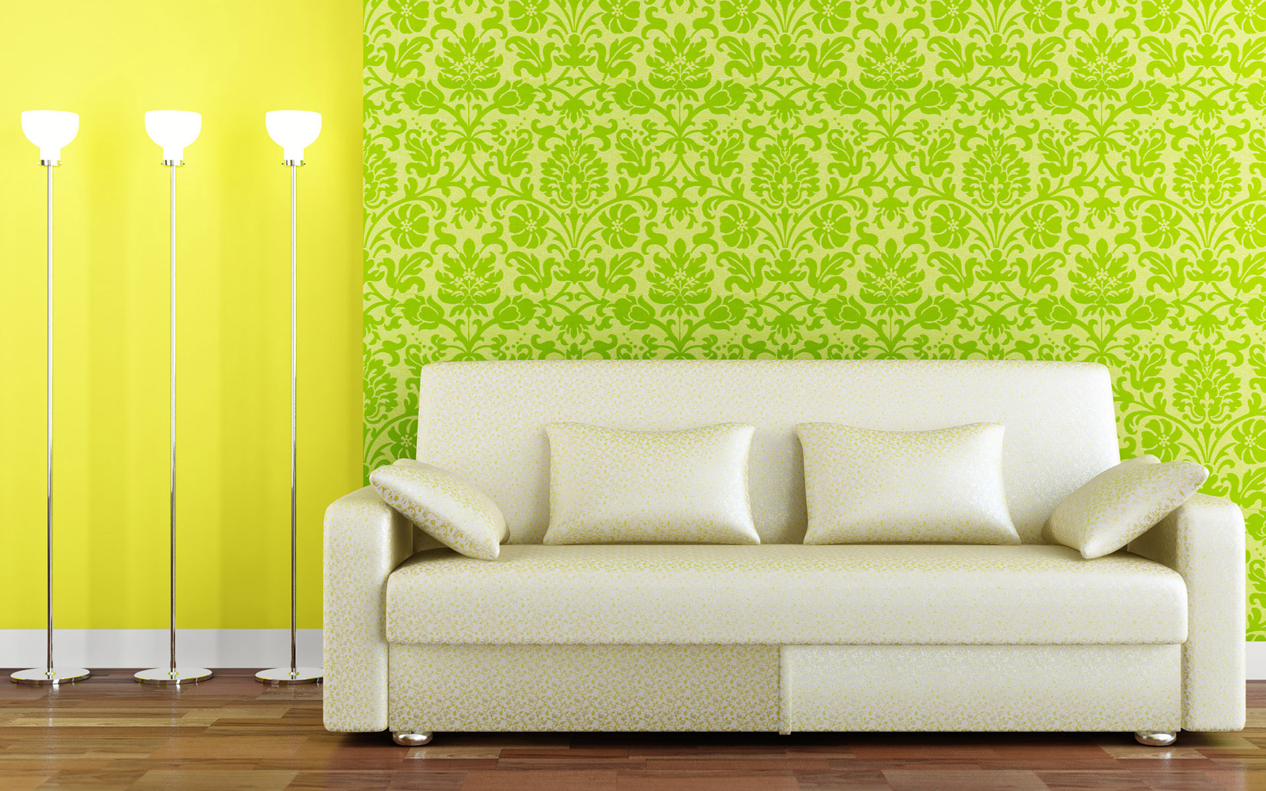 White sofa on green background oboj wallpapers and images ...