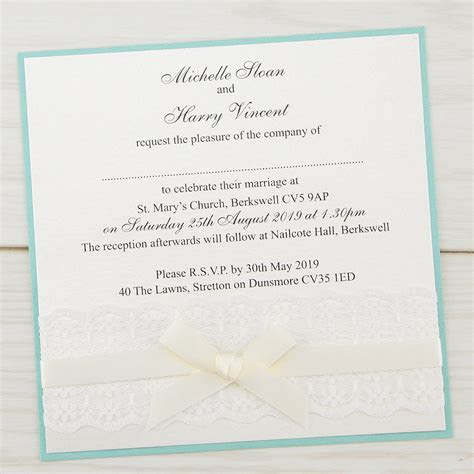 Embroidered Lace Layered Square Wedding Invitation   Pure