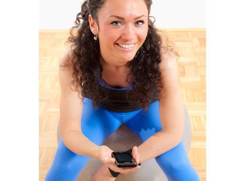 woman wears blue nylon and spandex