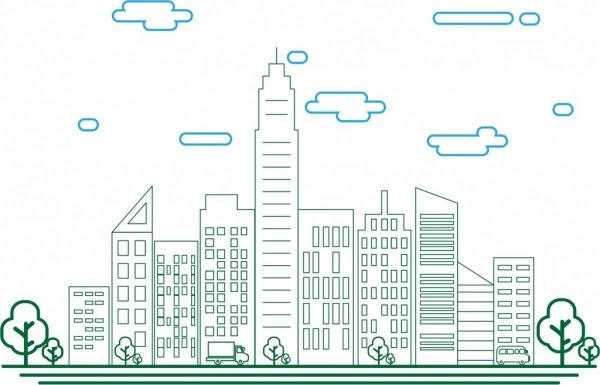 Kota Sketsa Bangunan Tinggi Modern Dekorasi Berwarna Gaya Vektor