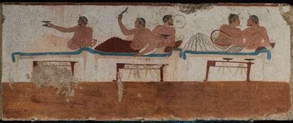 Σκηνή συμποσίου σε τοιχογραφία από τάφο στο Paestum Ιταλίας, 475 π.Χ.