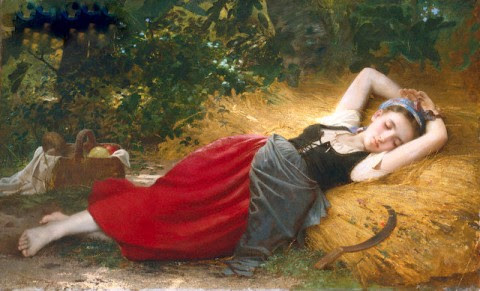 a young peasant girl sleeping
