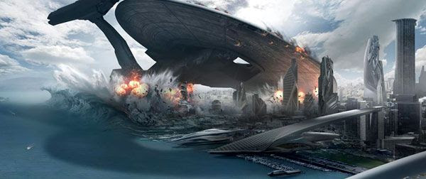 Concept artwork depicting the USS Vengeance crashing down onto San Francisco in STAR TREK INTO DARKNESS.