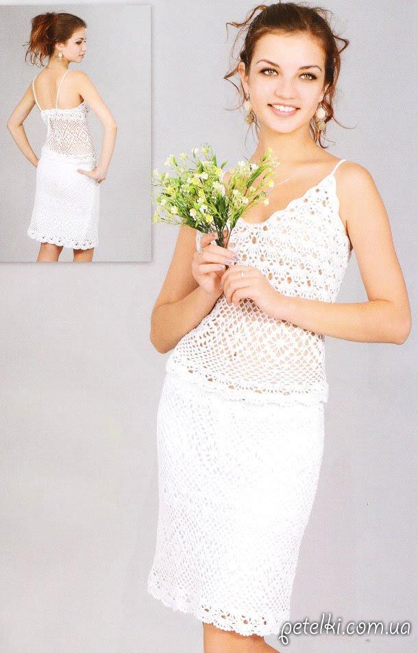 Conjunto de tracería elegante de faldas y camisas.  Descripción, esquema, patrón
