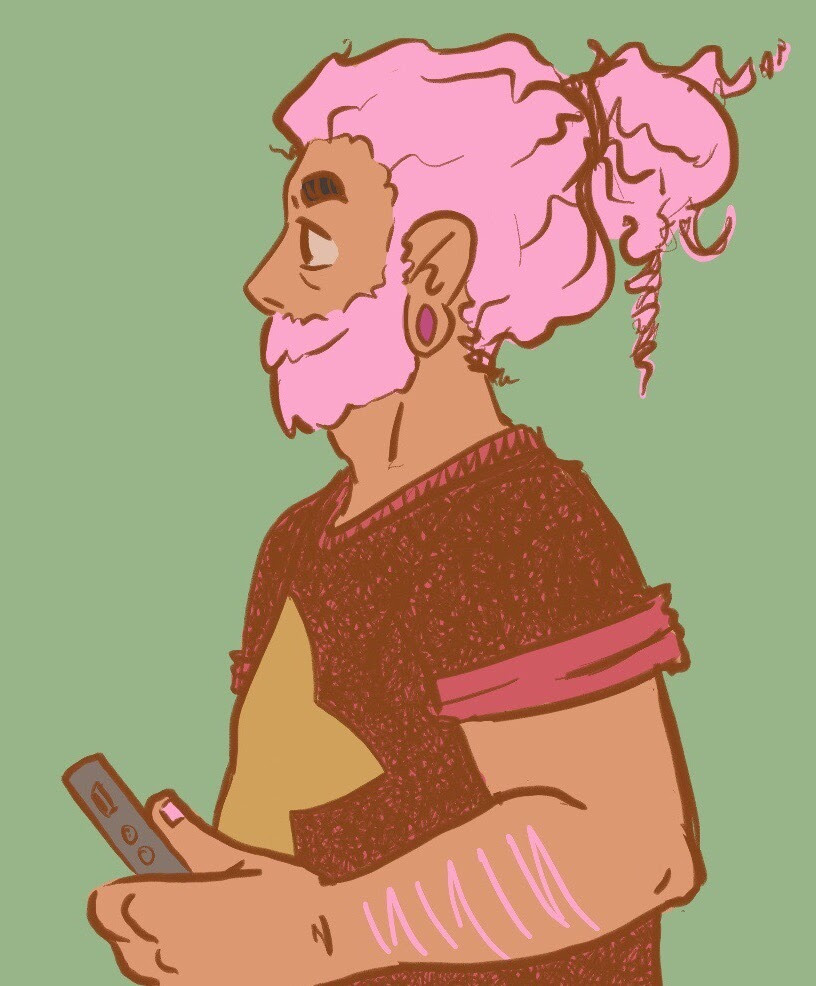 some grown steven w/ pink hair idk