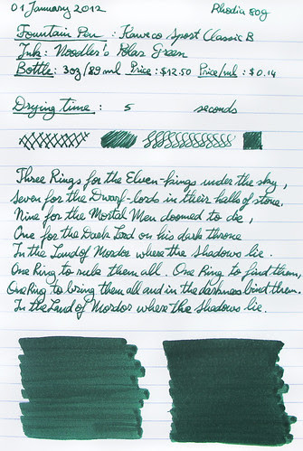 Noodler's Polar Green on Rhodia