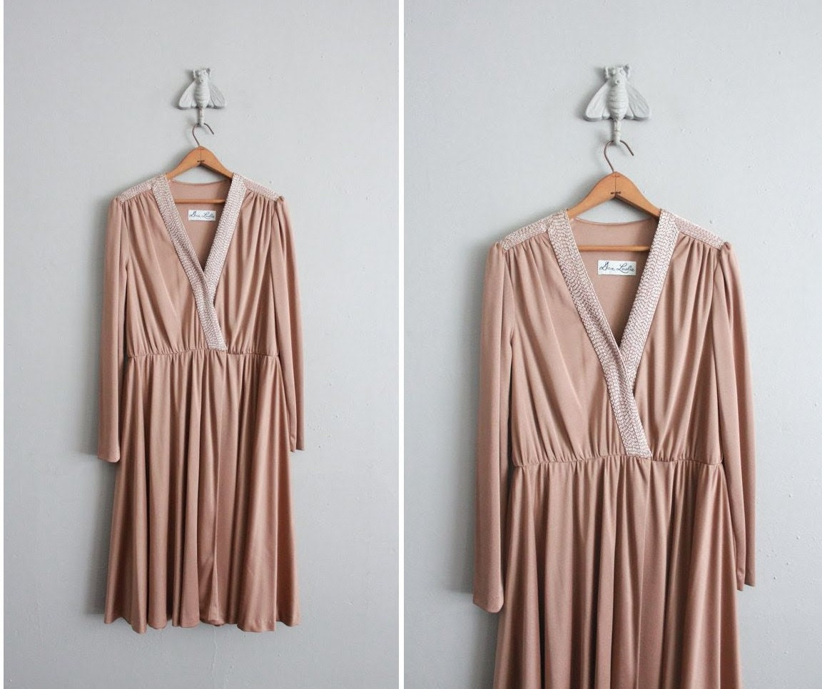1970s vintage shimmer taupe beaded jersey dress