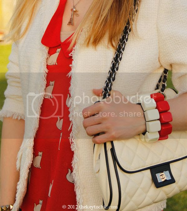 Zara cat print shirt, tweed blazer, Marni at H&M bracelets, Los Angeles fashion blogger, southern California fashion blog