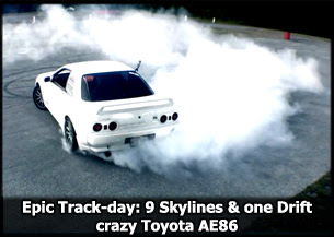 Video: Epic Track day 9 Skylines and One Crazy Toyota Drift AE86