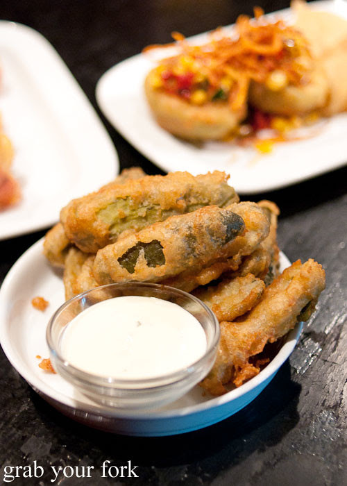 deep fried pickle at The Norfolk Surry Hills