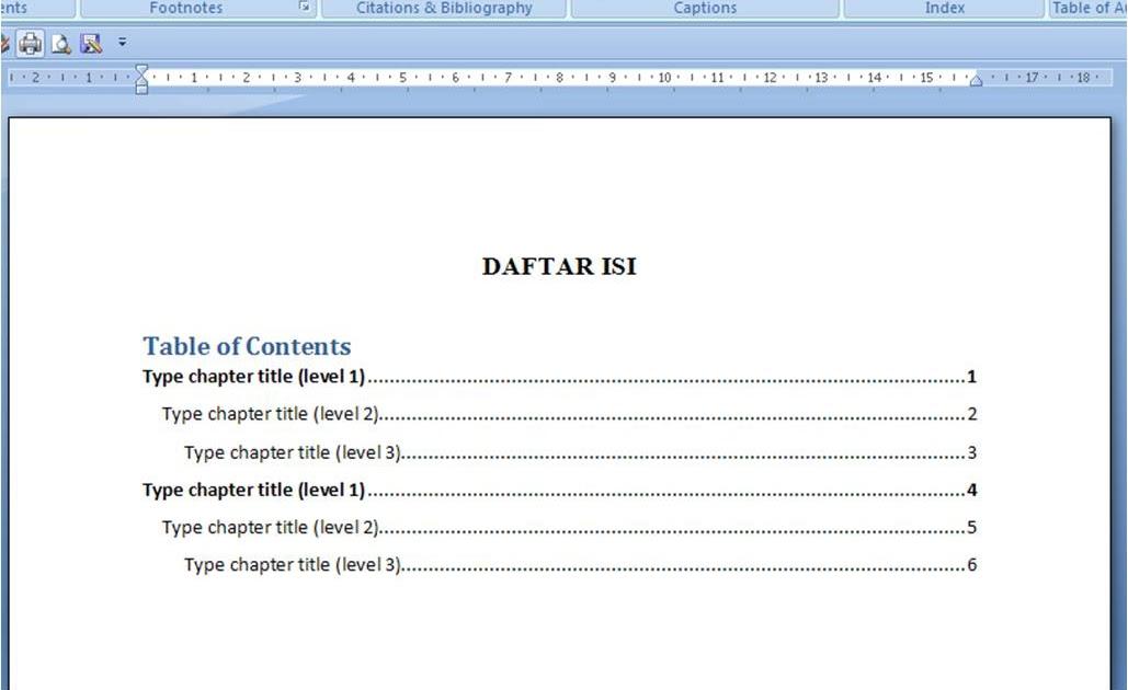 Contoh Daftar Isi Word 2007 - Contoh U
