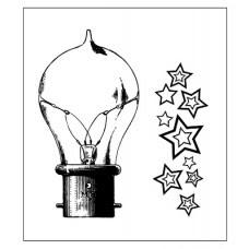Штамп. Набор Лампочка 3.Зведы фоновый. Лампа.6,3*3,5см