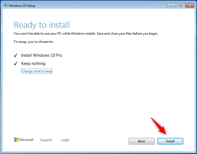 La herramienta de creación de medios está lista para instalar Windows 10