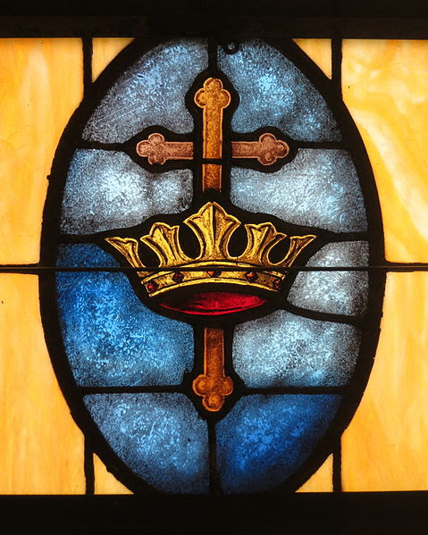 File:Holy Family Catholic Church (North Baltimore, Ohio) - stained glass, cross and crown.jpg