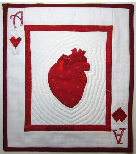 ace of hearts mini-quilt