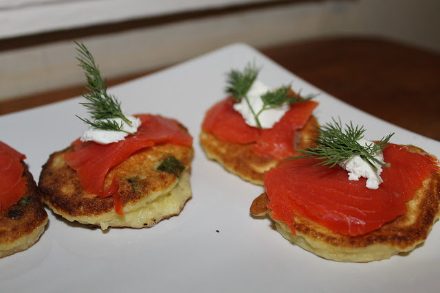 Latkes with goat's cheese, smoked salmon, and fresh dill