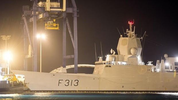 """The Norwegian frigate """"Helge Ingstad"""" docked in Limassol in Cyprus. The vessel is part of the Danish-Norwegian force that will transport Syria's chemical agents out of the country to destruction."""
