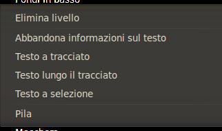 Il comando testo lungo il tracciato assieme agli altri comandi di testo nel menu livello