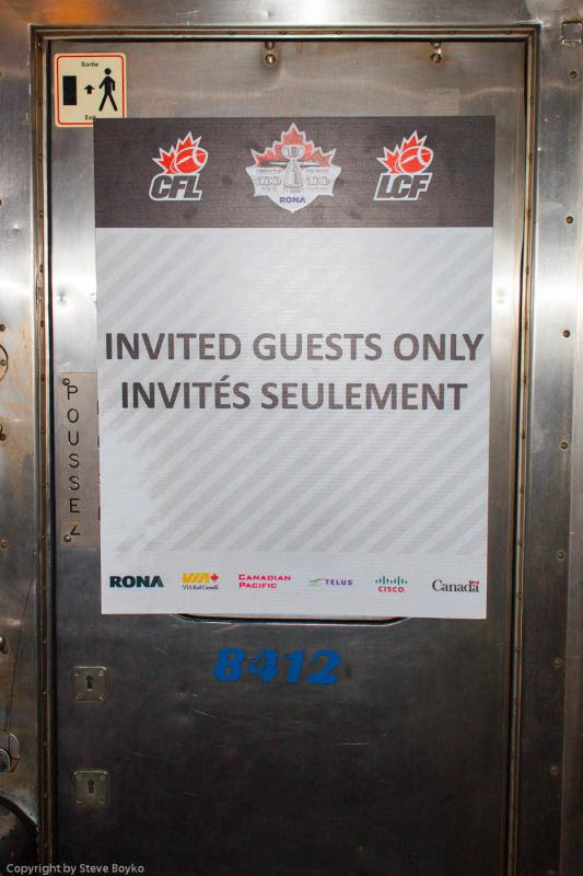 Grey Cup train diner KENT invited guests only