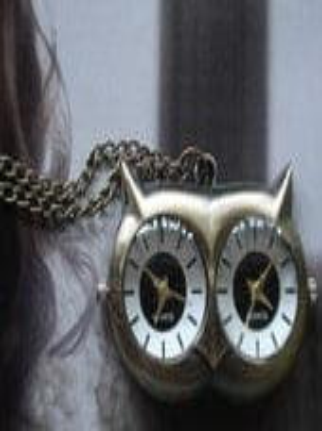 20% HOLIDAY SALE Dual Time Necklace Pendant Owl Pocket Watch quartz Chain G618