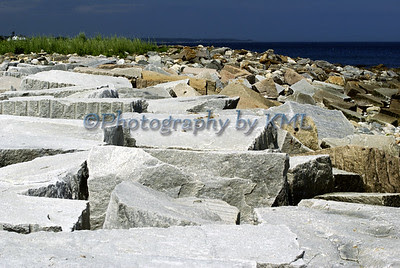 the breaker wall in the harbor from a low angle