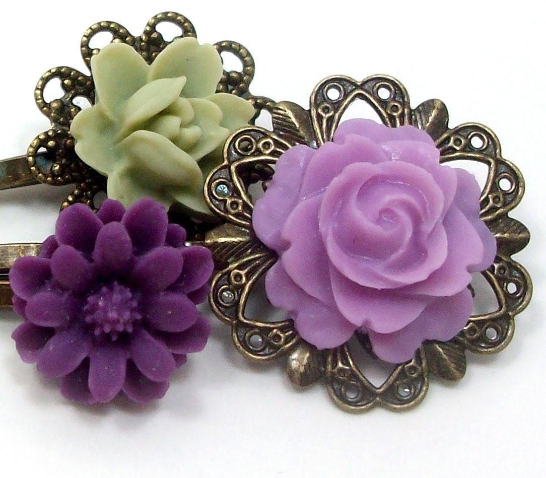 Flower Hair Pins Purple Lilac Sage . GRAPES