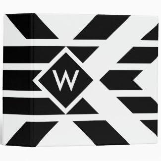 Black Quadrilateral Stripes on White with Monogram Binder