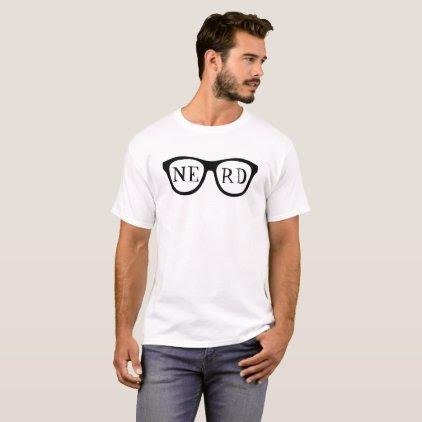 Nerd Glasses Black Horned Rimmed Smart Shirt Funny