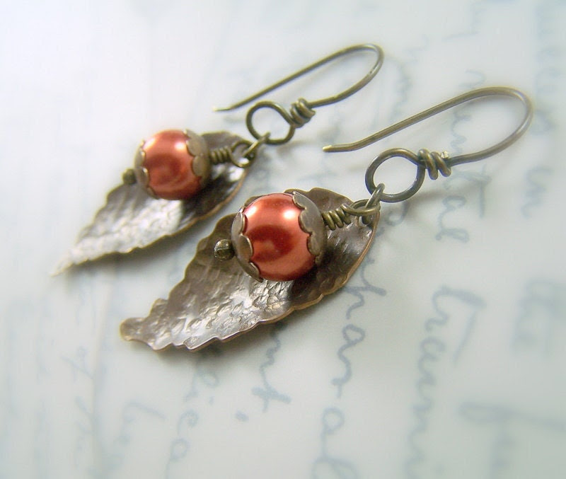 Fall Leaf Earrings Hammered Vintaj Glass Pearl - Autumn Blaze