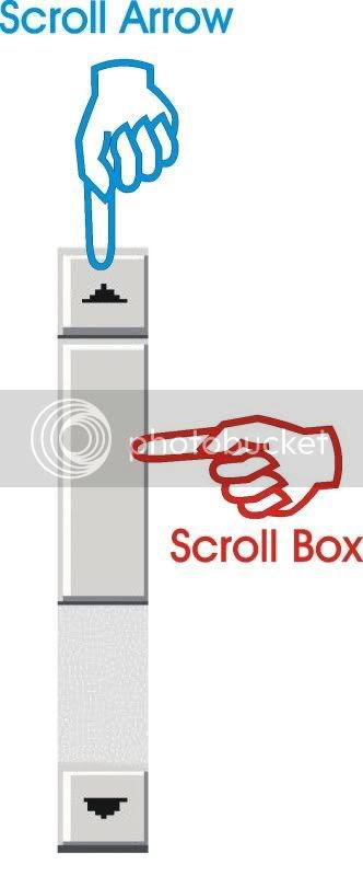 Scrollbar, scroll arrow, scroll box
